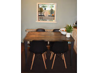 Large Industrial Kitchen Table and x 4 chairs Mid Century Style 140cm x 70cm