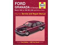 HAYNES FORD GRANADA & SCORPIO SERVICE & REPAIR MANUAL PETROL MODELS 1985 - 1994