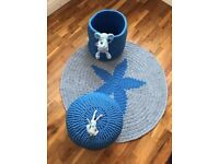 Nursery Decor Set (Rug/Toy Basket/Pouffe)