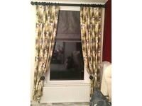 Designers Guild Linen Curtains - Baudard Fabric with Triple Pleats & Pearlescent Glass Beads