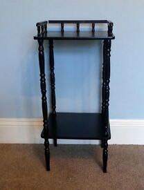 "Retro / Vintage Black Wooden Hall Table with attractive detail H29""/74cm W13.5""/34cm D12""/30cm"