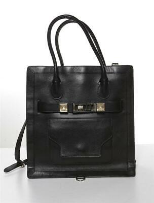 PROENZA SCHOULER Black Leather PS11 Tote Tall Satchel Bag Handbag Messenger
