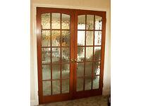 Two pairs of mahogany hardwood glazed rebated door pairs