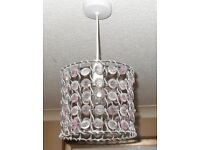 Pair of crystal effect beaded light shades