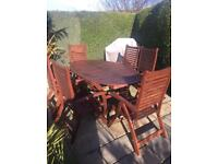 Wooden Garden Table & Chairs with Cushions