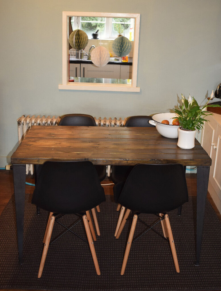 Rustic Handmade Industrial Kitchen Table Iron Legs 4 x black chairsin West Ealing, LondonGumtree - Industrial Kitchen table & 4 black chairs Here we have a Stunning handmade kitchen tables It is made from quality wood that has real character as you can see from the photos. Varnished in a dark oak (please be aware this table is rustic to fit its...