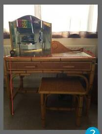 bamboo/wicker dressing table with a stool and mirror