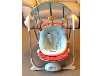 Chico motorised baby swing in great condition with hood, s baby cushion, 4 swing levels and music