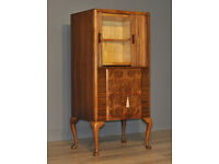 Attractive Burr Vintage Walnut Art Deco Cocktail Drinks Tallboy Cabinet