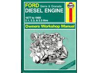 HAYNES FORD DIESEL ENGINE MANUAL SIERRA & GRANADA 2.1, 2.3 & 2.5 L 1977 to 1990