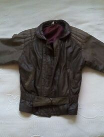 Vintage Brown Leather Jacket Coat Betty Barclay Size 10-12 - perfect for Spring