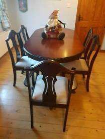MAHOGANY DINING TABLE & 6 CHAIRS not oak not pine