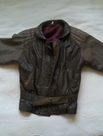 Designer Brown Leather Jacket Coat Betty Barclay Size 10-12 - perfect for Spring