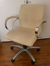 Office Chair. Cream Leather Effect and Chrome. Originally bought from Leekes. Good Quality.