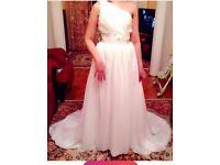 NEW!!! Wedding Dress White Size S-M One Shoulder Corset Size Adjustment Long Hem