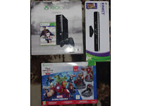 Xbox 360 250GB , kinect , disney infinity 2 and games