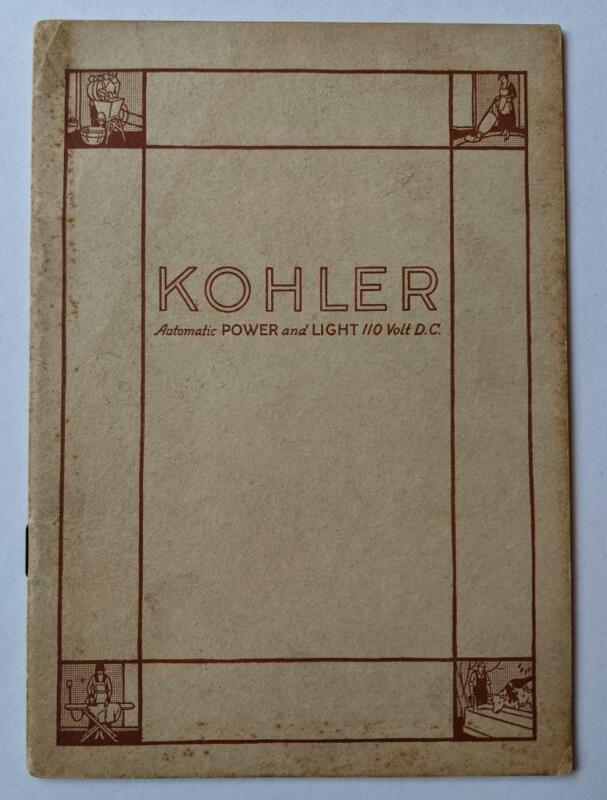 1922 KOHLER PROMOTIONAL BOOK AUTOMATIC POWER & LIGHT 110 volt DC ELECTRICAL sink