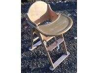 """Wooden Folding Highchair WILL DELIVER - John Lewis """"East Coast"""" - Folding table High Chair"""