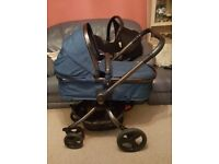 Mothercare Orb Travel System with Maxi Cosi Car seat, rain cover and cosey toes