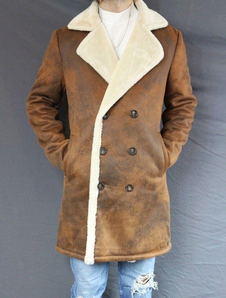 Mens Stradivarius Double Faced Jacket Coat Faux Suede