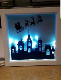 Light up Christmas silhouette frame