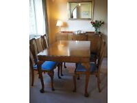Furniture traditional reproduction walnut wood extendable dining table with chairs