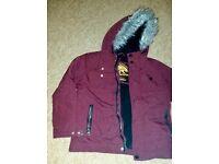 7-8 used Boys or girls burgundy parka school coat TU