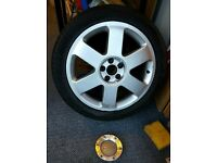 2x Audi Alloy wheels & tyres including centre caps