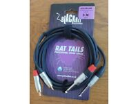 Rat Tails professional sound cables dual 1/4 Jack to dual RCA audio cable (3M) for sale GBP 6.99