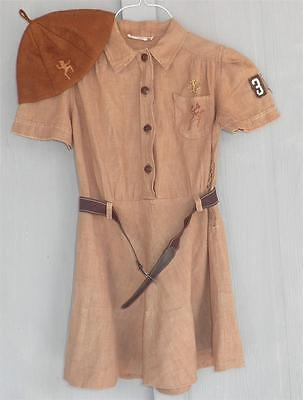 1950's BROWNIE GIRL SCOUT UNIFORM Dress Beanie Hat Pins Scouts Halloween Costume - Girl Scout Uniform Costume