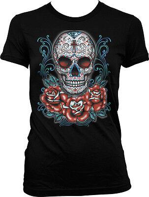Sugar Skull and Roses - Day of the Dead Skull Art Juniors (Day Of The Dead Skull And Roses)