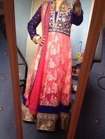 Stunning blue pink gold anarkali for sale mehendi bridal asian outfit