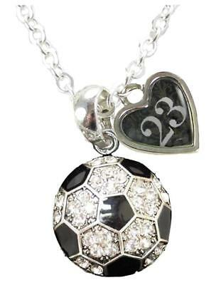 Sports Number Necklace (Custom Soccer Ball Crystal Silver Necklace Jewelry Jersey Numbers 50-99)