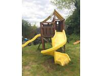Wooden swing slide climbing frame solid but needs attention