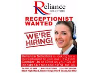 Full time receptionist required for a Law Firm