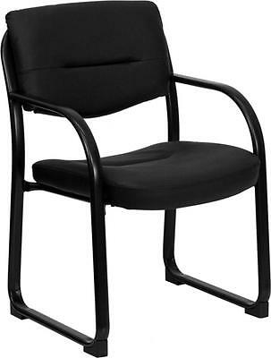 Flash Furniture Black Leather Executive Side Chair Wsled Base New
