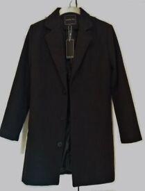 Mens Smart Black Coat , Extra Small / Small