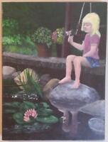 Girl by Pond - Oil on Canvas REDUCED KA