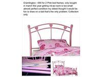 1 pink childrens bed frames