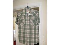"""Brand new Levi Strauss, Short sleeve shirt. """"Light Green & cream"""" colour."""