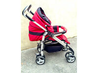 Red & Black Silver Cross 3D Pushchair/Cosy Toes / Rain Cover