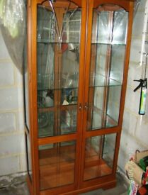 Cherry Wood & Glass display Cabinet