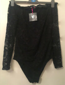 Brand new with tags Black Lace off the shoulder Bardot Bodysuit By Very Size UK 12