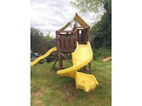 Slide & swing set - Wooden swing / slide / climbing frame