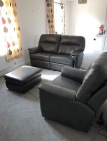 G PLAN 2 SEATER SOFA, RECLINER CHAIR AND FOOTSTOOL. Leather, Grey, Immaculate! Can deliver for FREE!
