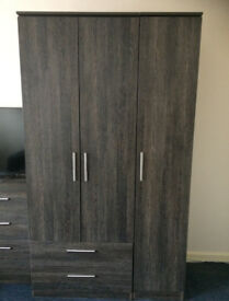 Contrast Panga Triple Wardrobe - Tall with 2 Drawer - Looks like new
