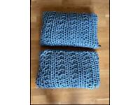 Large knitted cushions for sofa or bed