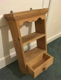 Small Pine Shelf with Drawer