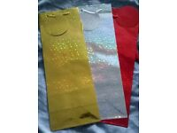3 foil bottle bags 4 lots available gold silver red new