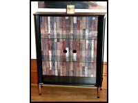Stunning Vintage Contemporary Unique Black Glass Cabinet - Free delivery